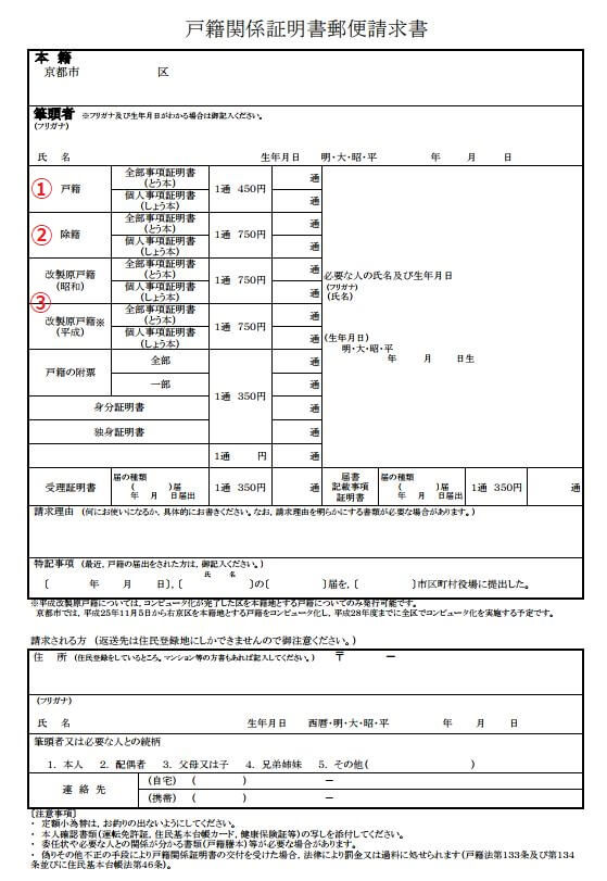 Numbering戸籍郵便請求書 サンプル