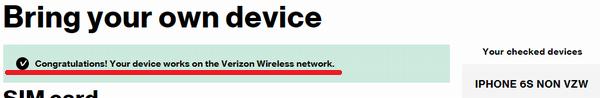 VerizonのSIMカードに対応している