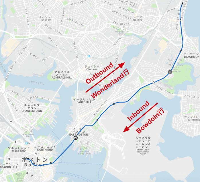 ボストン地下鉄ブルーラインの路線図