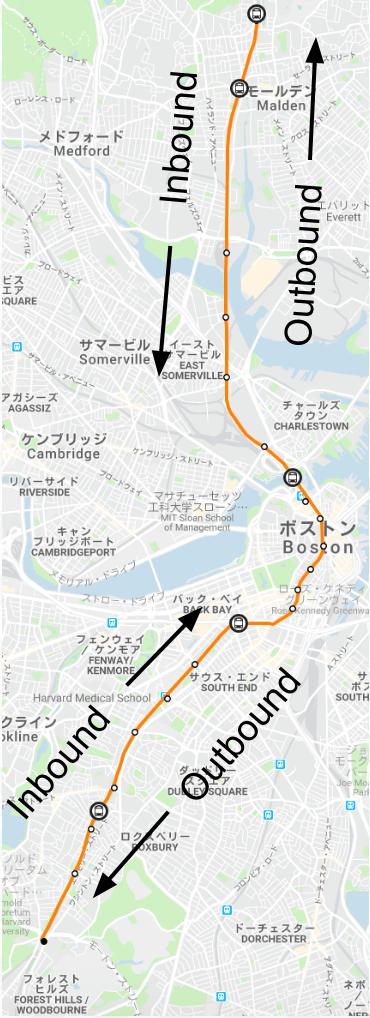 ボストン地下鉄オレンジラインの路線図