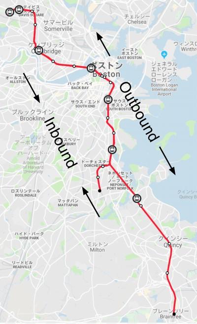 ボストン地下鉄レッドライン路線図