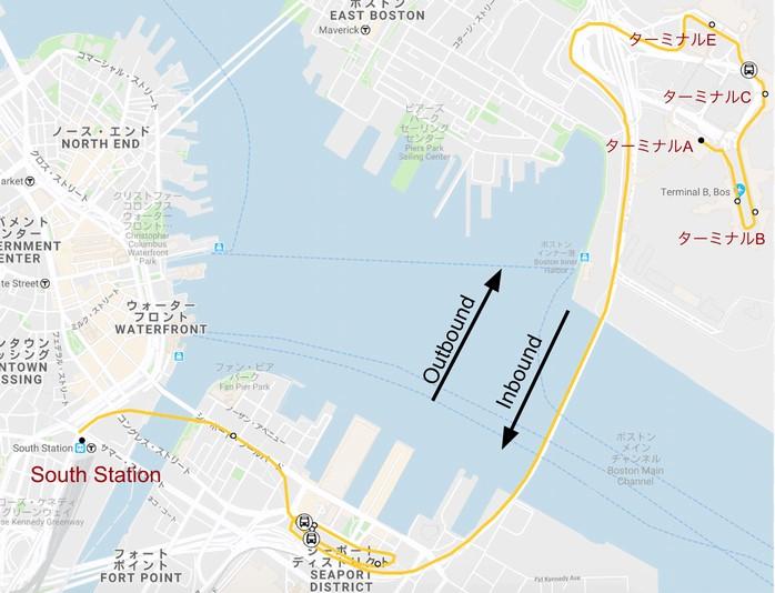 ボストン地下鉄シルバーラインの路線図