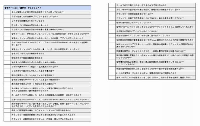 留学エージェントチェックリスト