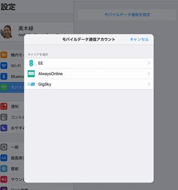 iPadの画面「キャリアの選択」