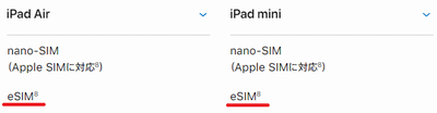 eSIM対応のiPad AirとiPad miniの表示