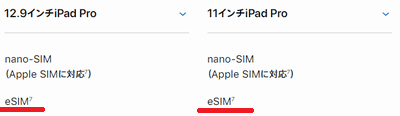 eSIM対応のiPad Proの表示