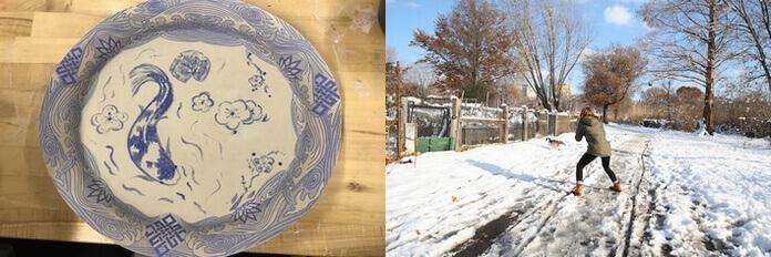 ボストンのお皿と雪景色