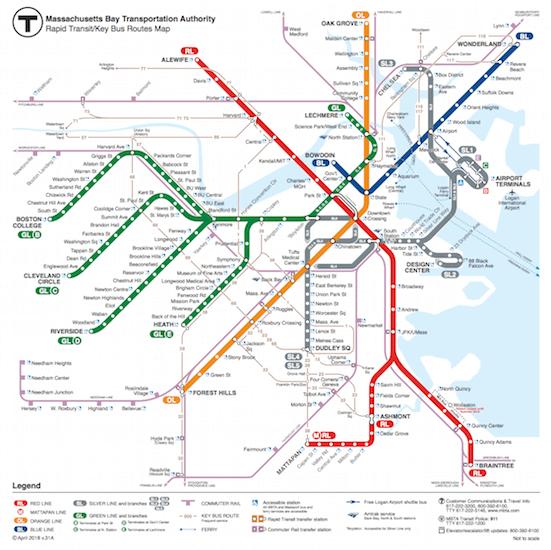 ボストンの地下鉄路線図