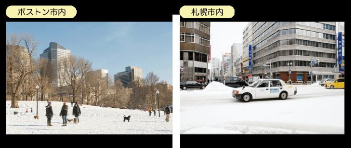 ボストン市内と札幌市内の雪景色