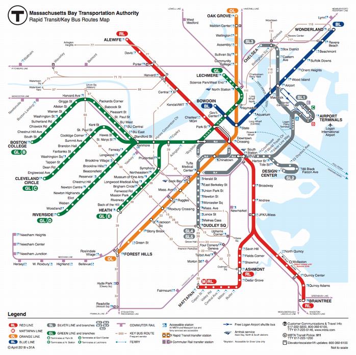 ボストン地下鉄の路線図