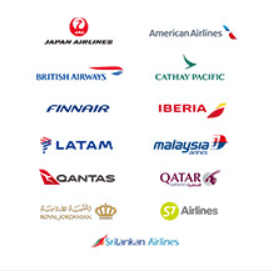 ワンワールドに加盟している航空会社のロゴ