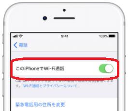 iPhoneの画面「このiPhoneでWi-Fi通話」