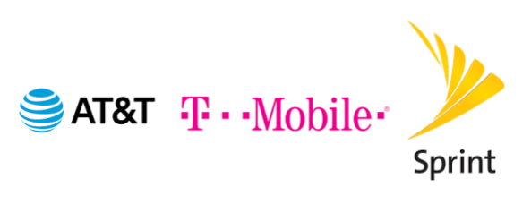 AT&T、T mobile、Sprintのロゴ